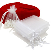 EXIU 100pcs Drawstring Organza Jewellery Pouches Wedding Candy Christmas Gift Bags