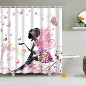 EXIU Pink Butterfly Girl Water-Repellent Fabric Shower Curtain, 150cm x 180cm