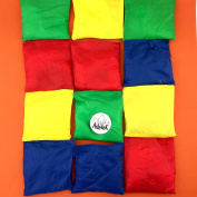 Adorox Set of 12 Assorted 13cm Nylon Bean Bags Cornhole Primary Colours Carnival Game