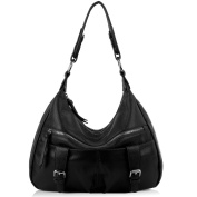 Yaluxe Women Ladies Soft Cowhide Leather Hobo Shoulder Bags with Front Pockets