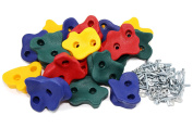 JGS 20 Premium Quality Large Rock Climbing Holds for Kids with Longer 5.1cm Mounting Hardware for Wood Playset Swing Set, Indoor Outdoor Climbing Wall, Children Playground