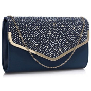 Gorgeous Luxury Navy Large Diamante Flap Clutch purse .  FOR £22.99 | FREE UK DELIVERY | SAVE 70%