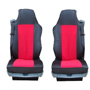 2 x Car Seat Covers - Black/Red Heavy Duty Mercedes Atego Actros 2005-2008 Mercedes-Benz 1844 LS Axor