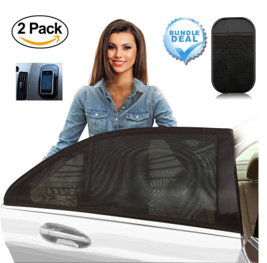 [2 Pack] Baby Car Screen, Baby Sun Shade Covers for Rear Side Window - FREE Anti Slip Dashboard Mat Included - Mesh Visor Provides Maximum UV Protection for Infants, Children, and Pets - Easy Instal