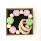 Coskiss Handmade Nursing Wooden Crochet Beads Teething Knitted Bead With Wooden Beads