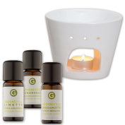 """Essential oil set - """"Citrus Aura"""" - Pure and natural essential oils from lemongrass, lime and bergamot (3x10ml) - with a white fragrance lamp"""
