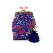 Longra® Women China Tassel Style ! Lightweight Portable ! Retro Vintage Canvas Small Wallet Hasp Purse Clutch Bag