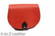 Snake Patterned Real Leather Saddle Cross Body Handbag with Buckle Closure and Adjustable Strap