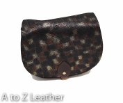 Black and Black Croc Patterned Real Leather Saddle Cross Body Handbag with Buckle Closure and Adjustable Strap