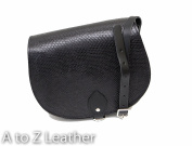 Black Snake Patterned Real Leather Saddle Cross Body Handbag with Buckle Closure and Adjustable Strap
