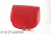 Crimson Red Real Leather Saddle Cross Body Handbag with Buckle Closure and Adjustable Strap