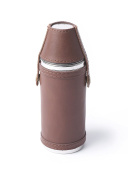 Luxury Brown Real Leather Flask with Cups perfect gift