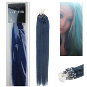 Style 46cm Easy Loops Micro Rings Beads Tipped 100% Real Human Hair Extensions Straight Hair Colour Blue Beauty Design Salon