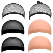 eBoot Nylon and Mesh Wig Cap, Neutral Nude Beige and Black, 6 Pieces