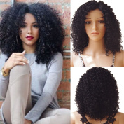 S-noilite® 7A Charming Loose Curly Bob Wig Natural Wavy Deep Curly Lace Front Wigs 1B off Black