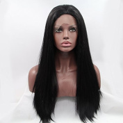 natural black wig long straight synthetic lace front wig heat resistant fibre hair