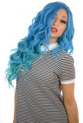 Carnival Doll Long Curly Full Volume Thick Lace Front Wig in Bright Turquoise Blue Ombre
