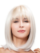 Falamka . Shoulder length Natural Women's Bob Style Straight Blonde Heat resistant Cosplay Full Hair Wig