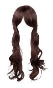 WIG-128-Long Curly Dark Mahogany Wig with Centre Parted Fringe