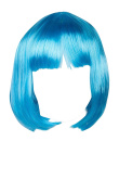 WIG-142-Short Synthetic Light Blue Cosplay Costume Party Wig with Straight Fringe