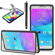 Samsung Galaxy Note 4 Flip TPU Silicone Gel Case,Vandot 2in1 Set Flexible Folio Transparent Clear Shell Practical Premium Protective Cover with Built in Touch Screen Protector Skin-Black+ Universal Stylus Pen