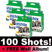 Fujifilm Instax WIDE Film Bundle Pack (100 Shots) + FREE Wall Album!