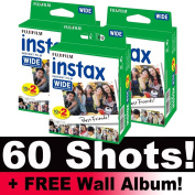 Fujifilm Instax WIDE Film Bundle Pack (60 Shots) + FREE Wall Album!