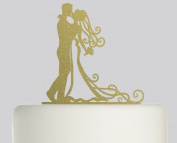 Mr and Mrs Bride and Groom - Ideal Wedding Cake Topper- Acrylic Cake Topper - Gold Sparkle Acrylic