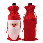Andux Zone Christmas wine bottle cover Santa Claus Wine Bottle bag cloth Festival Home Table Decoration Red 3 pcs SDJPT-01