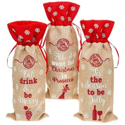 Christmas Bottle Bag - All I want for Christmas is Prosecco - Embellished Hessian Gift Bag