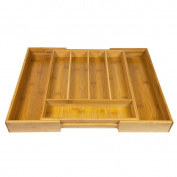 Woodluv Expandable 5-7 Compartments Bamboo Wooden Kitchen Cutlery Drawer Utensil Organiser Divider Tray