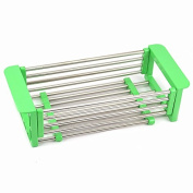 COLLECTOR Scalable high quality stainless steel sink drain wash basket drain kitchen storage rack , green one