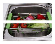 COLLECTOR Stainless steel retractable shelf dishes in the kitchen drain , green