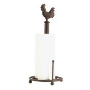 Freestanding Brown Cockerel Iron Paper Towel Kitchen Roll Pole Holder