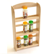 New 3 Tier Pine Natural Wood Wall Mounted Free Standing Wood Wooden Spice Herb Storage Rack Jar Stand Holder