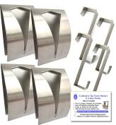 4 Brushed Stainless Steel Self Adhesive Sticky Tea Towel Grabbers Holders & 4 Over Door Hooks