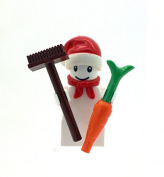 LEGO Christmas Snowman Minifigure With Santa Hat & Brush & Carrot
