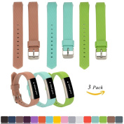 Fitbit Alta / Alta HR Replacement Wristbands Accessory(Pack of 3) + Free HD Screen Protectors, iFeeker Soft Silicone Adjustable Metal Buckle Design Strap Watch Band for Fitbit Alta / HR Activity Fitness Tracker(The Tracker Not Included) - Khaki + Teal ..