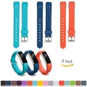 Fitbit Alta / Alta HR Replacement Wristbands Accessory(Pack of 3) + Free HD Screen Protectors, iFeeker Soft Silicone Adjustable Metal Buckle Design Strap Watch Band for Fitbit Alta / HR Activity Fitness Tracker(The Tracker Not Included) - Sky Blue + Da ..