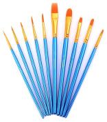 Paint Brushes, Laniakea 10pcs Paint Brush Set for Watercolour/Oil/Acrylic/Crafts/Rock & Face Painting