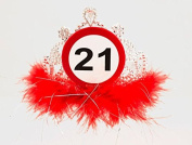 Traffic Sign 21st Tiara with Feathers Birthday Hat Party Favour