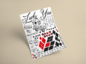 Harley Quinn Premium Temporary Tattoo - 40 Tattoo's Complete Your Look