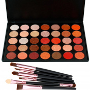Glitter Eyeshadow Kit, Lover Bar 35 Warm Colour Shimmer Makeup Palette Nature Nude Earth Tone Glow Waterproof Smokey Eye Shadows with Blusher 6pcs Make Up Brushes Set Professional Beauty Cosmertics