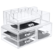 ISWEES Large Capacity Cosmetic/Makeup Organiser 5MM Clear Acrylic Jewellery Watches Display Box Bathroom Storage Insert Holder Case 2 Parts W/ 4 Big Drawers