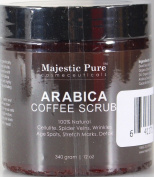 Majestic Pure Arabica Coffee Body Scrub, 350ml - 100% Natural Skin Care Treatment Helps Reduce Cellulite, Stretch Marks, Spider Veins, Acne, Eczema, Age Spots & varicose veins, Natural Skin Detox