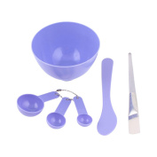 Sourcingmap Plastic Mask Mixing Bowl Brush Gauge Spoon Skin Care Tool Set, Purple