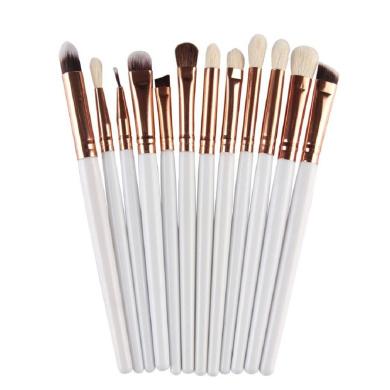 FEITONG 12Pcs Cosmetic Makeup Brush Lip Makeup Brush Eyeshadow Brush (White)