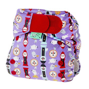Tots Bots 3.6-16kg Easy Fit Hook and Loop Nappy Hickory Print