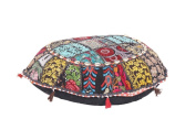 Antique Patchwork Bohemian Blue pouffe Embroidered Footstool Decorative Ottoman