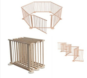 Baby Playpen - 6 Panel Foldable Large Wooden Play Pen / Folding Room Divider for Babies & Toddlers / International Delivery